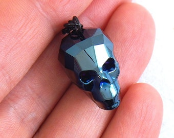 16-inch necklace with rare dark metallic blue Swarovski faceted 20mm skull pendant, all hypoallergenic black stainless steel