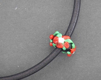 Short black leather necklace with handmade black glass bead with 3D flowers, all hypoallergenic stainless steel