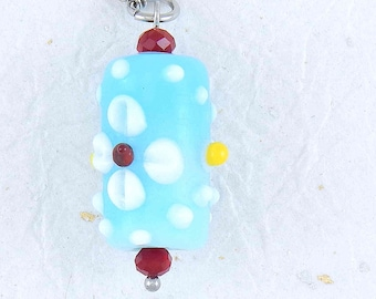 Long necklace with Murano glass sky blue cylinder with 3D flowers and wine red crystals on hypoallergenic stainless steel (24 or 29 inches))