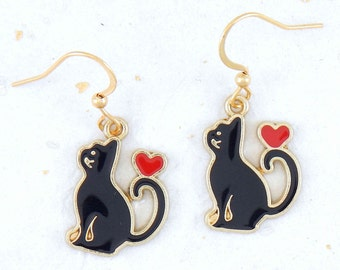 Black enamelled cats earrings on golden brass with red hearts on hypoallergenic golden stainless steel hooks