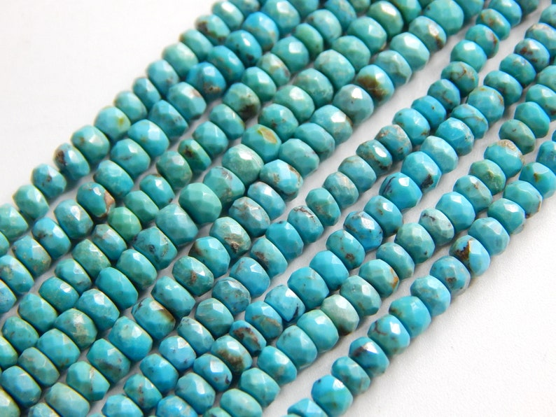 63/%OFF Turquoise Sleeping Beauty Faceted Beads Rondelle Shape Size-2.5x2.MM Approx 13Inches 100 Percent Natural Top Quality Wholesale Price