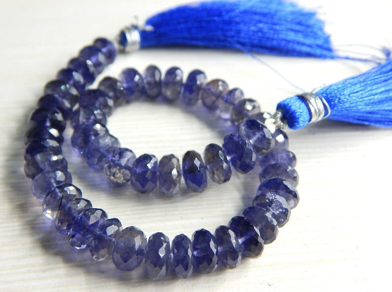 WATER SAPPHIRE Faceted Beads Rondelle Shape 10x9.mm Approx 8Inches 100 Percent Natural Top Quality Wholesale Price 63/%OFF Iolite