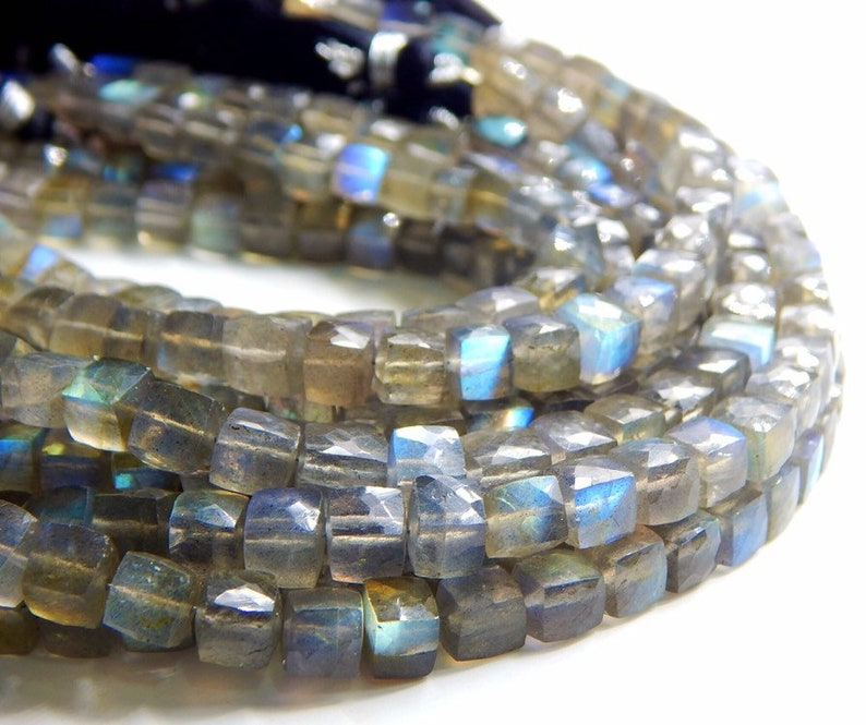 63/%OFF Labradorite Faceted Box Beads Cube Shape 7x6.MM Approx 8Inches 100 Percent Natural Top Quality Wholesale Price New Arrival