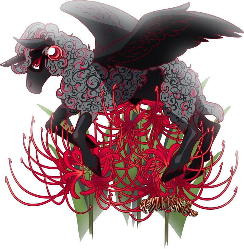 Death Lilies Alicorn Sheep Obsidian Vinyl Sticker image 0