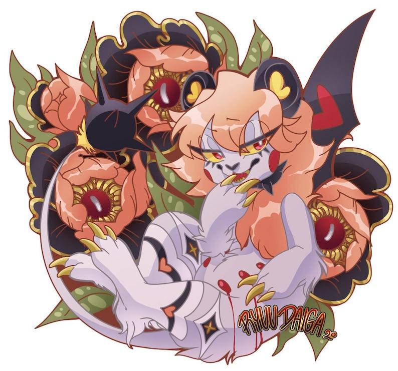 Peony Flowers Lion ARAM Vinyl Sticker image 0