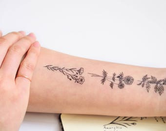 Flower temporary tattoo flower tattoo floral tattoo sticker temp tattoo tatouage temporaire tatuaje temporal tijdelijke tattoo temporal