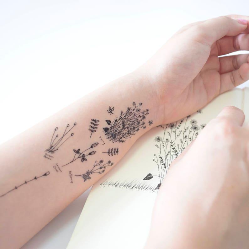 8813dd837 Temporary tattoos floral tattoo tatuajes temporales flowers   Etsy
