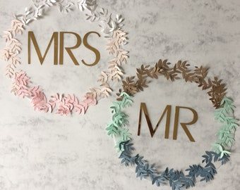 Wedding name place settings - Mr and Mrs