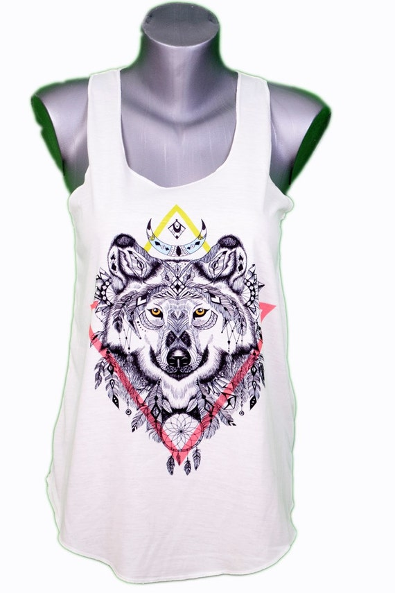 283a61f54758f6 Wolf ethnic style tank top     wolf tank top ethnic style