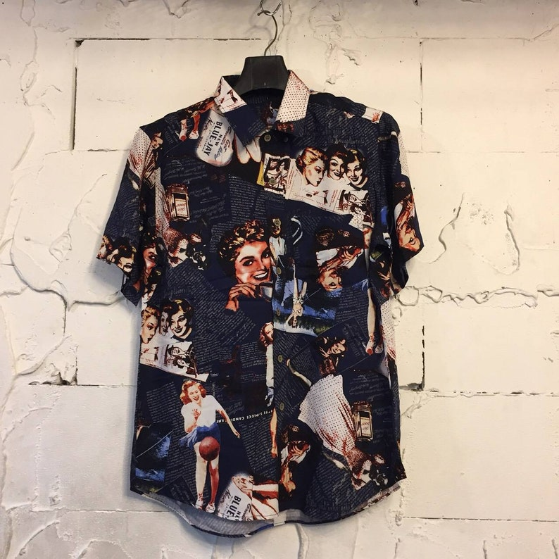 full print vintage retro stytle hawaiian shirt gl boutik pin up