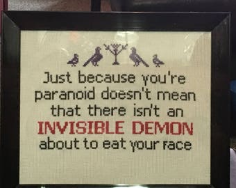 Cross stitch of a Jim Butcher quote from the Dresden Files book series