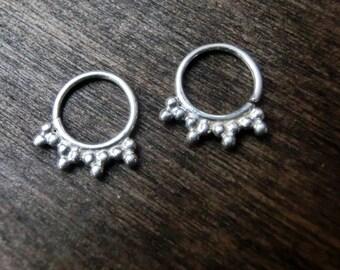Tribal Silver Earrings⎜Tiny Ear hoop