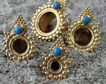 Brass Tunnels⎜Turquoise⎜4-10 mm