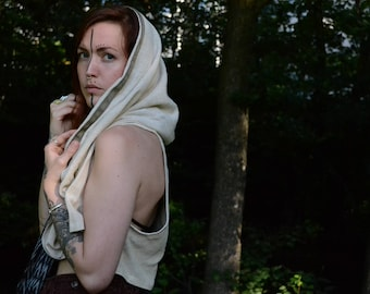 White Vest with Hood⎜Natural Raw Silk