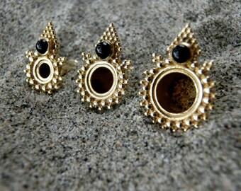 Brass Tunnels⎜Black Onyx⎜4-10 mm