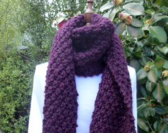 Ladies knitted scarf. Ladies wool acrylic scarf. Hand knit scarf. Purple eggplant scarf. Gift for her. Chunky wool scarf. Chunky knit scarf.