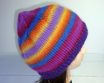 5c007cddca5 Large Knit hat. Ladies Knit Beanie. Rainbow knit hat. Wool hat. Wool Beanie.  Wool Knit Hat. Womens knit beanie.