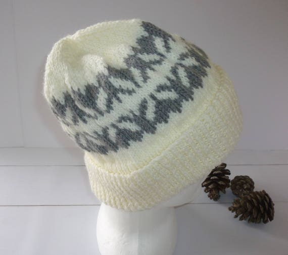 43451bdb53e Knitted Beanie. Winter white Knit Hat. Large Knit hat. Mens