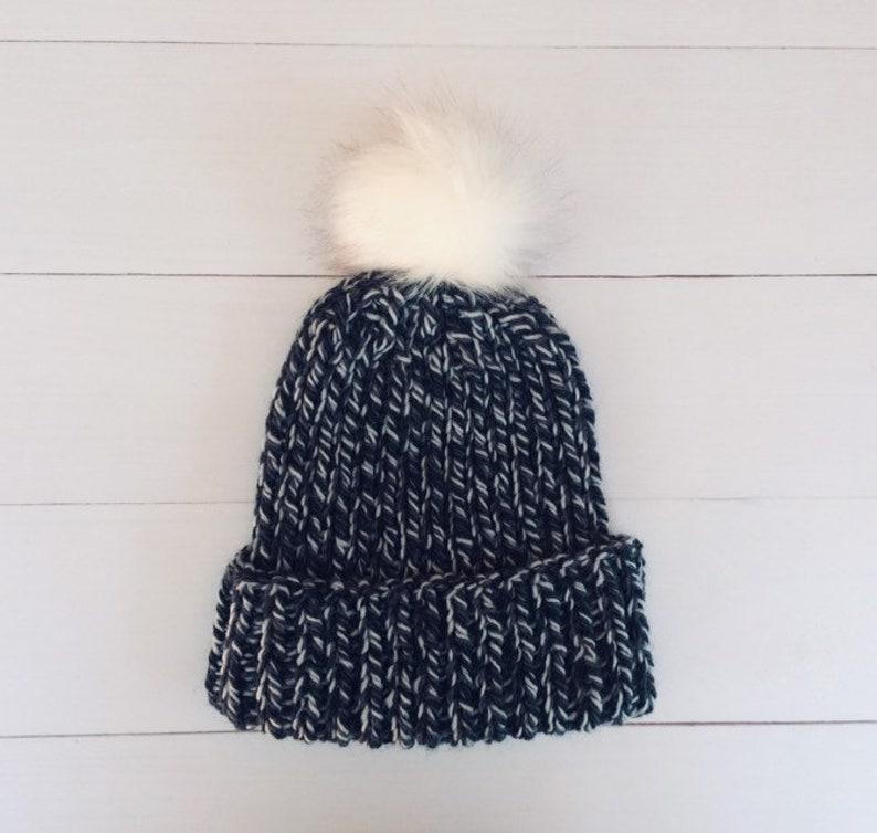 6eb6b85b80acce Chunky knit hat. Black and white Knit hat. Pom Pom Beanie.   Etsy