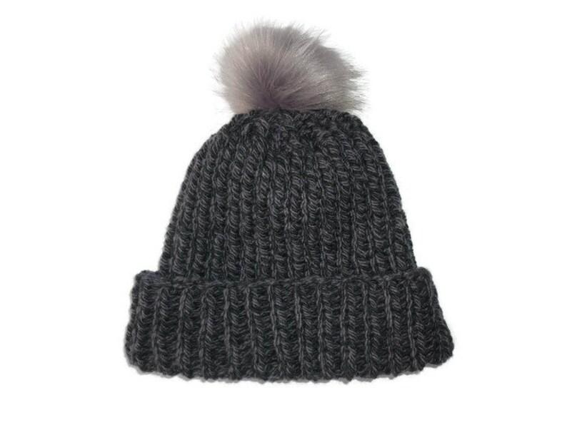 cd1f66731a6 Chunky knit hat. Charcoal grey Knit hat. Pom Pom Beanie. Wool alpaca hat.  Chunky ribbed beanie. Ladies knit hat. Faux fur pom pom. Gray pom.