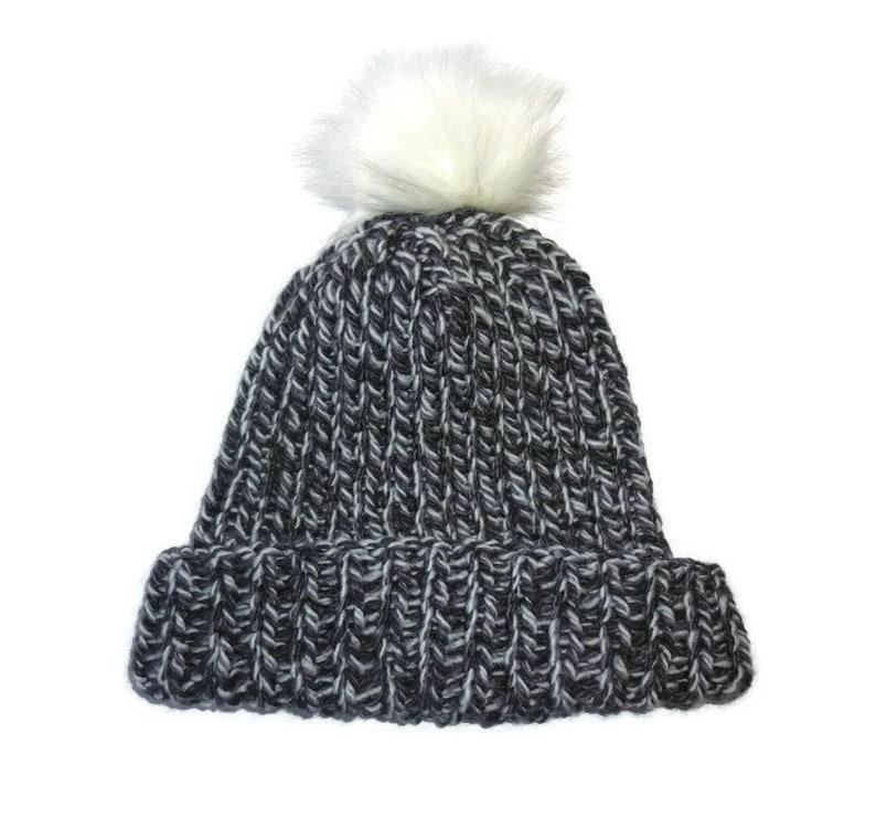 52935b2fb40 Chunky knit hat. Black and white Knit hat. Pom Pom Beanie.
