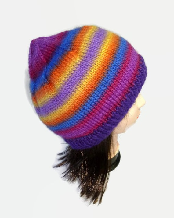 Rainbow knit hat. Knitted Beanie. Knitted Hat. Large Knit hat.  ff004f61cc8