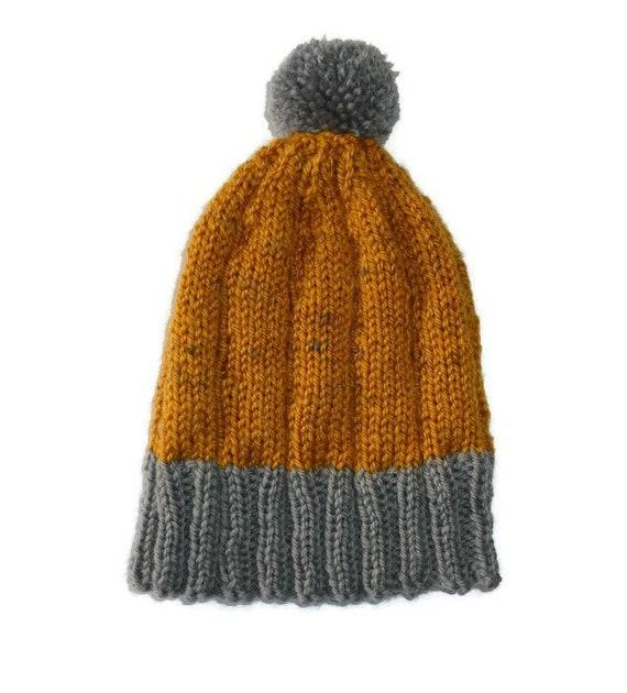 Childs wool beanie. Pom Pom beanie. Childs knit beanie. Wool Knit hat.  Mustard yellow beanie. Grey knit hat. Boys knit Winter hat. 1ba81a8d028