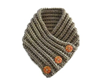 Chunky knit cowl. Chunky knit scarf. Chunky button cowl. Chunky knit neck warmer. Chunky taupe scarf. Taupe Circle scarf. Winter scarf.