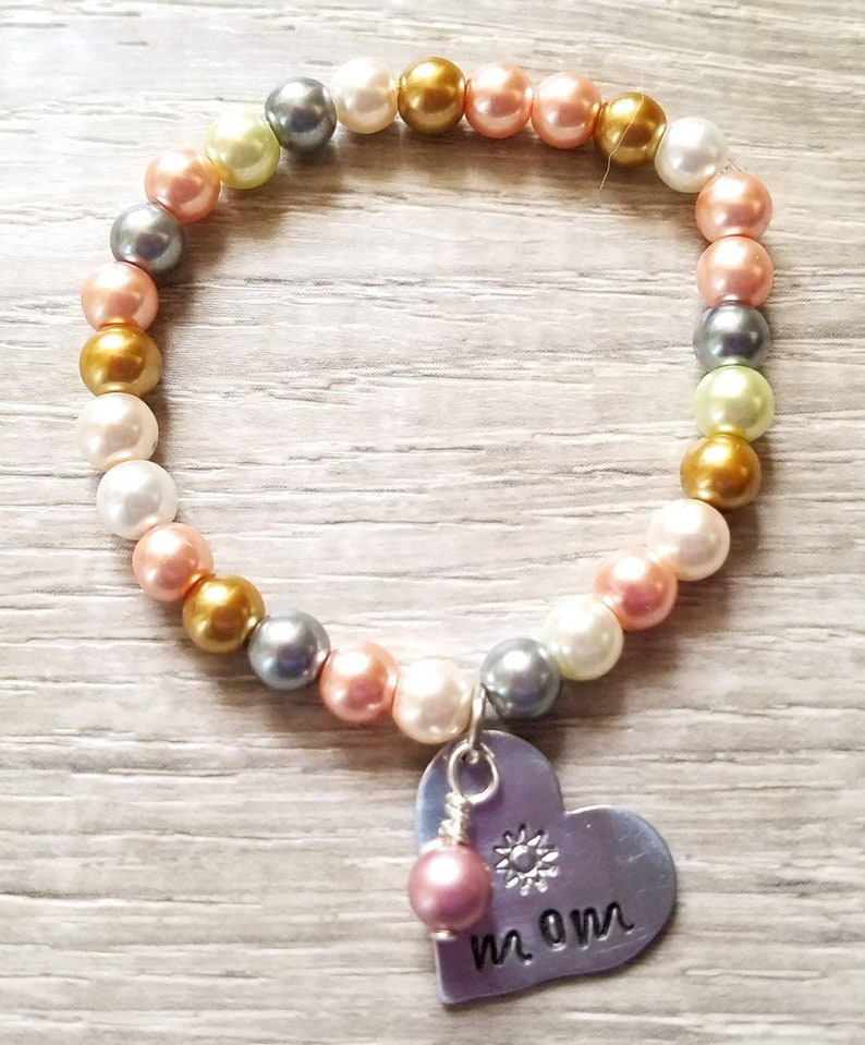 Personalized handstamped charm on pearl beads stretchy bracelets