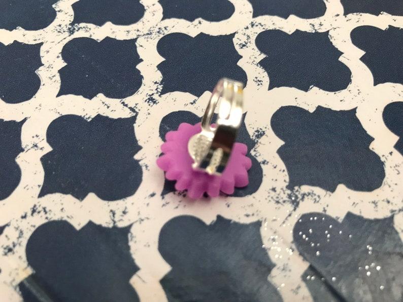 Purple flower kawaii ring