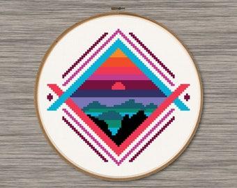 Mountain Sunset  - PDF Cross Stitch Pattern