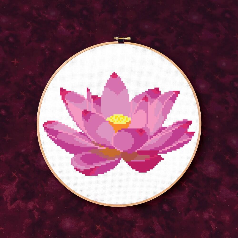 Pink Lotus Flower Pdf Cross Stitch Pattern Etsy