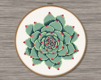 Green Succulent  - PDF Cross Stitch Pattern