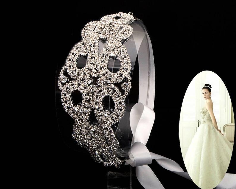 Wedding bridal crown rhinestone headband,Wedding bride ribbon tie back hair band,Prom headpiece,Wedding hair accessories-R102
