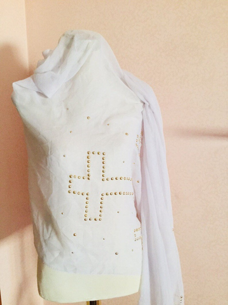 Maxi viscous vintage scarf with crosses and studs 90s woman