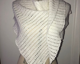 White Crochet shawl scarf handmade wrap, white evening shawl, handmade gift for her, white scarf handmade, woman's scarves,  Etsy Australia