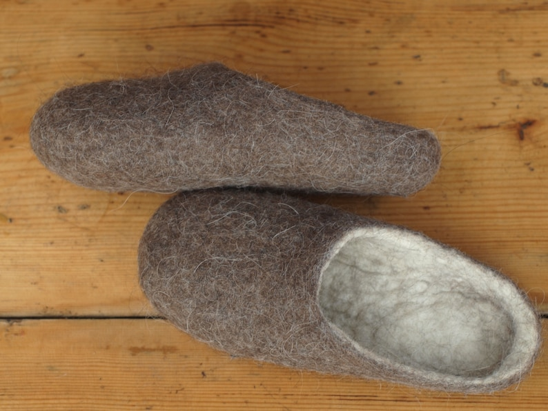 f1adeb878bd29 Natural wool felted men slippers. Eco home shoes | Etsy