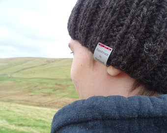 Pure 100% Shetland wool ribbed hat, warm and cosy, men and women