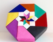 Origami colorful Box. Paper Box. Origami Box. Paper folding Box. Origami Japanese Box. Japanese Paper Box. Colorful Box. Red. Green. Yellow.
