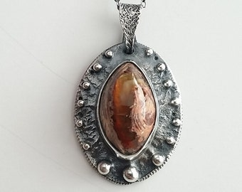 Fire Opal, pendent, textured, granulation, silver, 18 inch necklace.