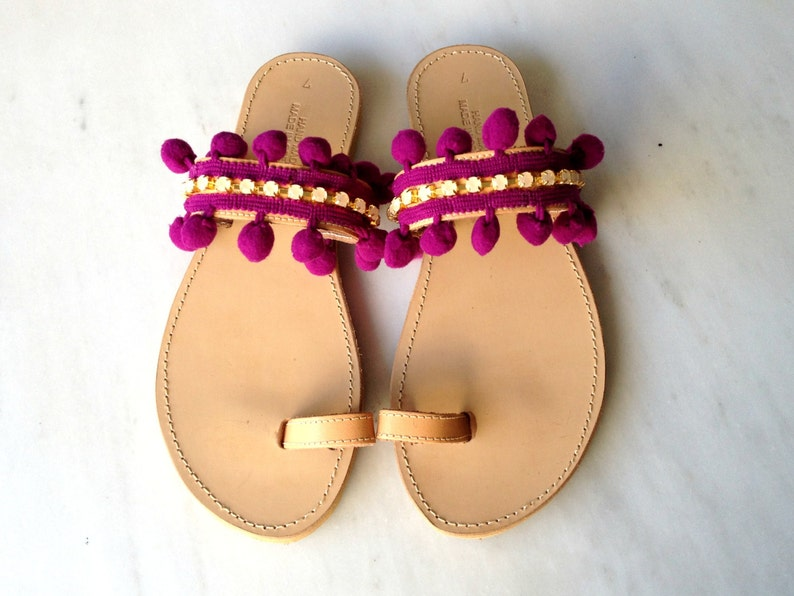 1e5f9f528bd64 Pon pon and rhinestones sandals - Boho sandals - Bohemian pon pon sandals -  Greek sandals - Womens sandals - Summer shoes - Pom ...