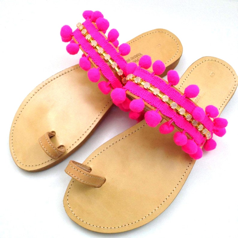 Pon pon and rhinestones sandals Bohemian pon pon sandals Summer shoes Boho sandals Pom pom sandals Greek sandals Womens sandals