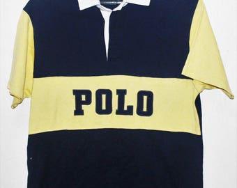 358f4ac00b74d2 VINTAGE RALPH LAUREN polo spell out rugby shirt stadium sportsman bear 1992  1993