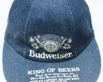 dcac481b6ab03 RARE VINTAGE BUDWEISER king of beer bud denim cap hat racing hot rod