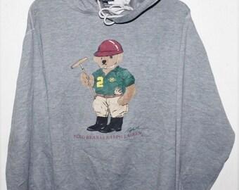1e2b65b179cc3 VINTAGE RALPH LAUREN polo bear hoodie sweater sweatshirt stadium snow beach
