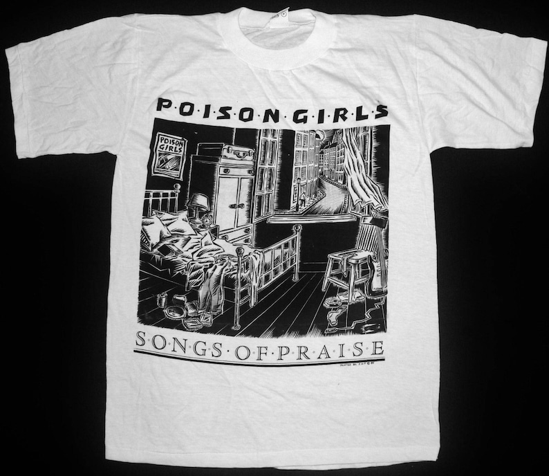 VINTAGE 80s 1985 POISON GIRLS anarcho punk rock tour concert promo t shirt