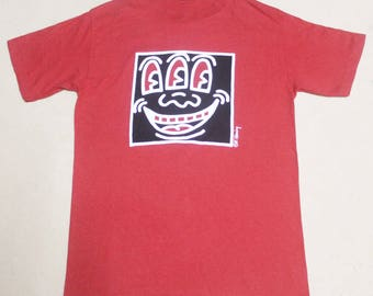 VINTAGE EARLY 80s KEITH haring three eyes pop art t shirt warhol peter max