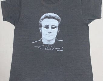 VINTAGE 80s JOHN LENNON 50/50 the beatles rock tour concert promo t shirt