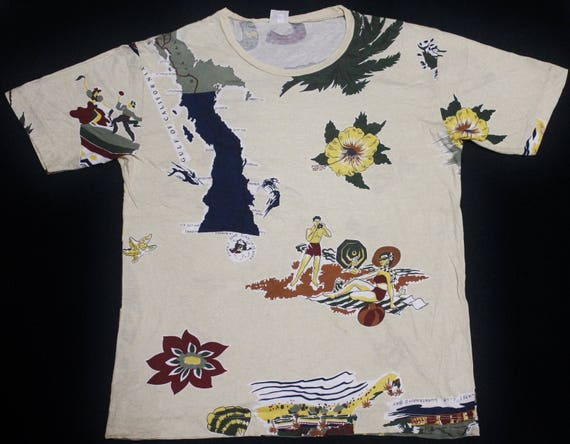 pop shirt t UNITED VINTAGE benetton COLORS of surf island hawaii art qBv6Y