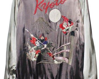 JAPAN SUKAJAN SOUVENIR kyoto samurai geisha embroidery reversible rayon jacket